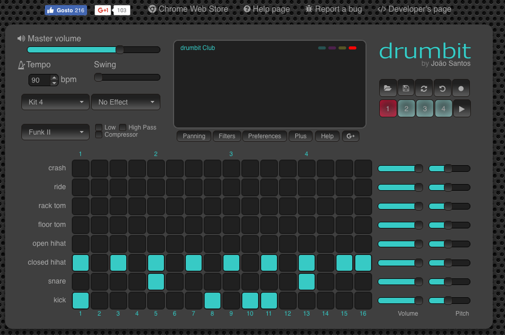 Create drum beats online with drumbit